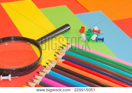 A Set Of New Colouring Pencils. The Pencils Are Used For General Colouring And Art. Variety Of Color