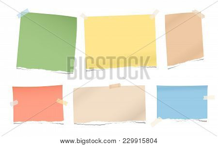 Pieces Of Torn Colorful Blank Note, Notebook Paper For Text Stuck With Sticky Tape On White Backgrou