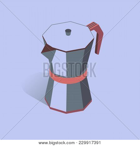 Vector Illustration With 3d Coffee Moka Pot. Coffee Container In Isometric Flat Style. Vector Illust