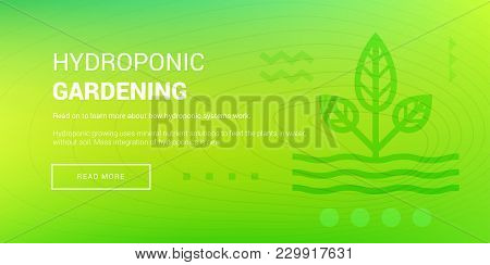 Vector Illustration Of Banner With Hydroponic Gardening Icon On Green Background.