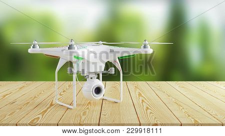 White Modern Drone On Wooden Table On Background Of Nature. 3d Render