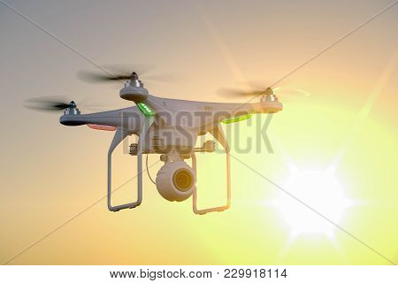 Drone With Camera On Sunset Background. 3d Render