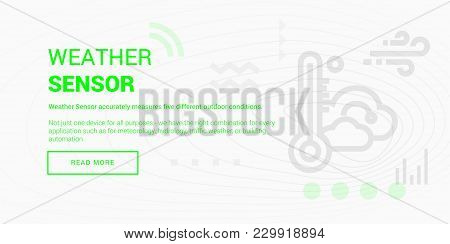Vector Illustration Of Connected Weather Sensor Banner On White Background.
