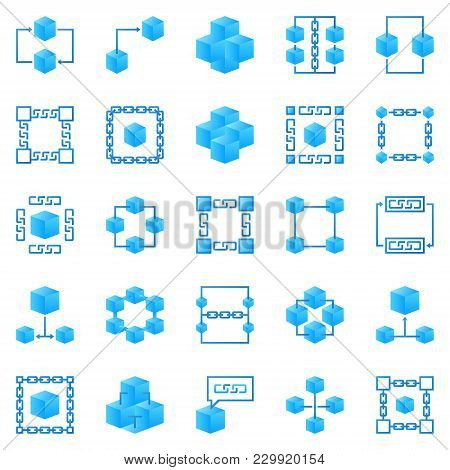 Blockchain Colorful Icons. Vector Bright Block Chain Creative Signs Or Logo Elements. Block, Cube An
