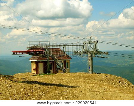 The Final Station Of The Cableway In The Carpathian Mountains In The Summer Of 2008.