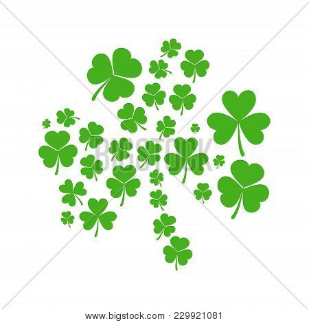 Green Shamrock Made Of Small Shamrocks - Vector Concept St Patricks Day Illustration