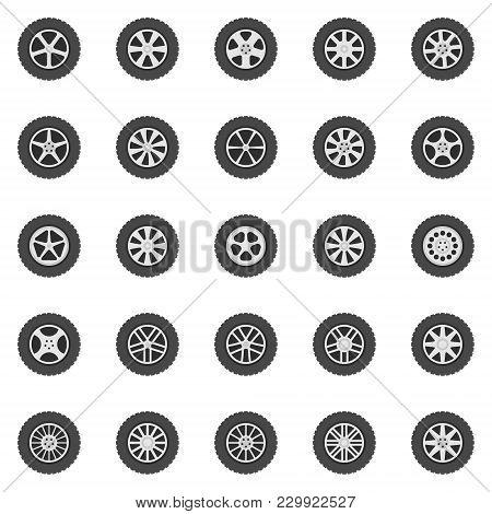 Wheel Icons Set. Vector Flat Car Wheels Disks Signs Or Logo Elements