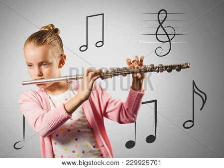 Digital composite of Girl against grey background playing the flute and music notes
