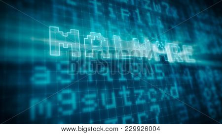 Pixelated Blue Computer Monitor With Random Text And The Word: Malware Highlighted, Concept Of Virus