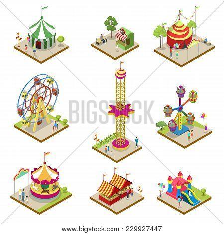 Amusement Park Isometric 3d Elements. Funfair Carnival, Carousel, Ferris Wheel, Rollercoaster, Circu