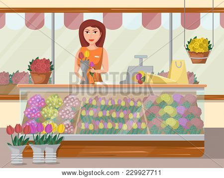 Beautiful Young Woman Florist Standing In Flower Shop. Floral Design Studio, Making Decorations And
