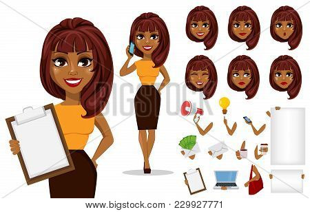 Pack Of Body Parts And Emotions. African American Business Woman Cartoon Character Creation Set. You