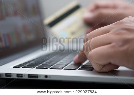 Closer Up Credit Card Online Payment  Using Smart Phone For Online Shopping