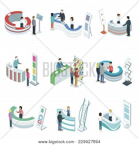 Reception Counter Desks Isometric 3d Set. Company Entrance Interior, Information And Exhibition Ad S