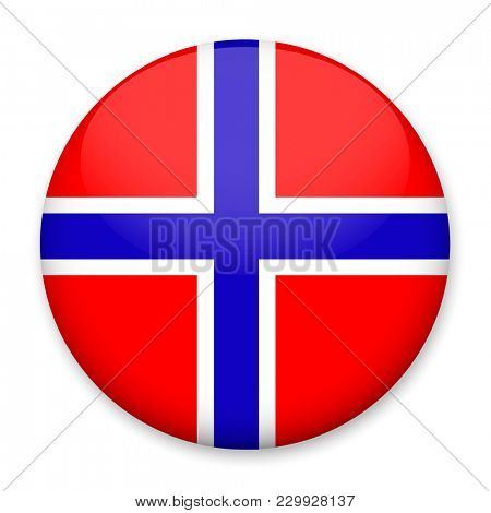 Flag of Norway in the form of a round button with a light glare and a shadow.