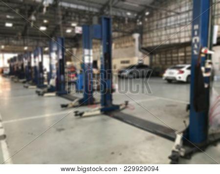 Car Repair Center Auto  Repair Service Station Blurred Background