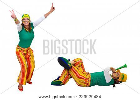 Brazilian fan lying or standing on white background