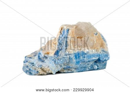 Macro Shooting Of Natural Gemstone. Raw Mineral Cyanide, Brazil. Isolated Object On A White Backgrou