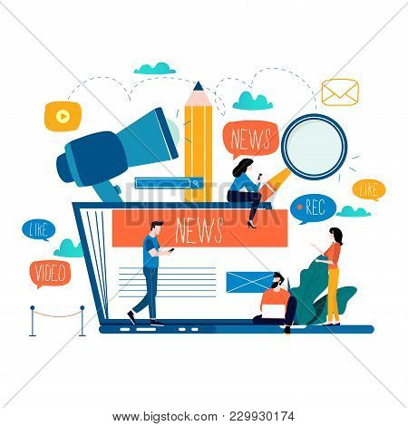 News Update, Online News, Newspaper, News Website Flat Vector Illustration. News Webpage, Informatio