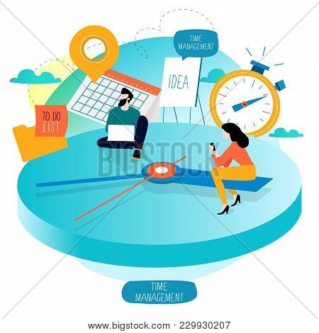 Time Management, Planning Events, Working Hours, Organization, Optimization, Deadline, Schedule Flat