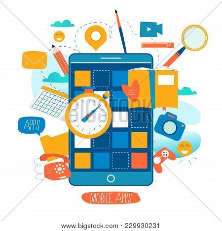 Mobile Application Development Process Flat Vector Illustration. Software Api Prototyping And Testin