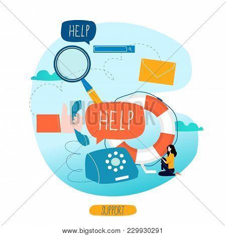 Customer Service, Customer Assistance, Call Center Flat Vector Illustration. Technical Support, Onli