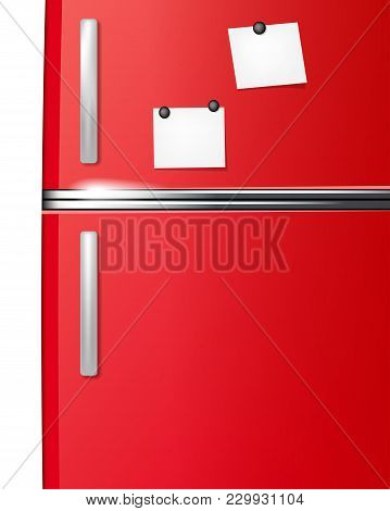 Red Refrigerator With Paper Stickies For Your Messages - Vector Illustration