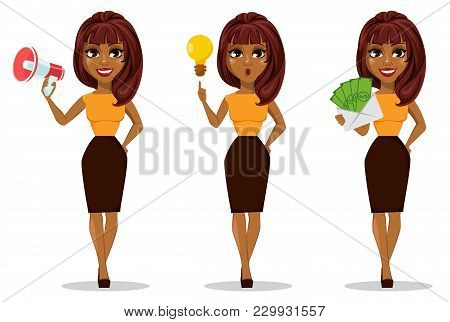 African American Business Woman Cartoon Character. Set Of Young Beautiful Businesswoman In Smart Cas