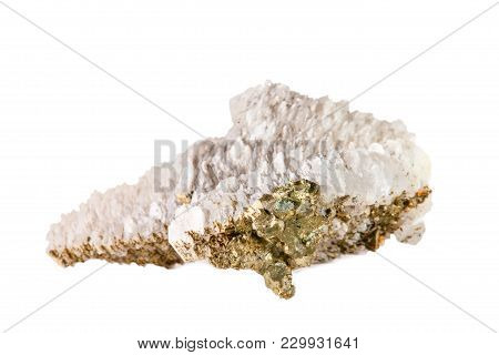 Macro Shooting Of Natural Gemstone. Raw Calcite Mineral With Pyrite. Isolated Object On A White Back