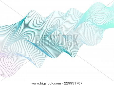 Abstract Wavy Striped Pattern On White Background. Vector Light Aquamarine Wave. Line Art Design Ele
