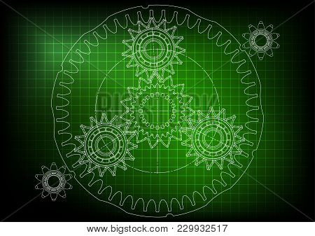 3d Model Of The Planetary Mechanism On A Green Background. Gear