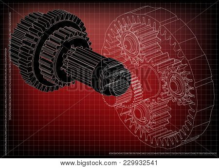 3d Model Of The Planetary Mechanism On A Red Background. Gear