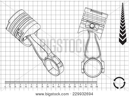 3d Model Of Piston On White Background. Drawing