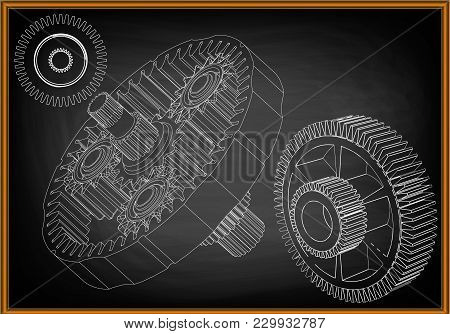 3d Model Of The Planetary Mechanism On A Black Background. Gear