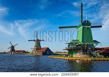 Netherlands rural lanscape Windmills at famous tourist site Zaanse Schans in Holland. Zaandam, Netherlands