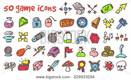 Vector Doodle Game Icons Set. Stock Cartoon Signs For Design.