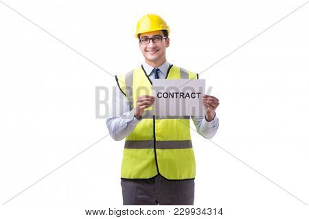 Construction supervisor with contract isolated on white backgrou