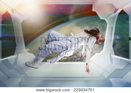 Woman Astronaut On A Futuristic Spaceship. Floating In Zero Gravity. Interior Of The Space Ship, Con