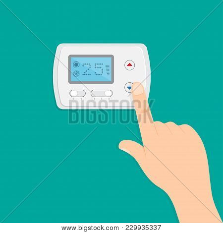 Hand Is Pushing Button To Climate Control Panel. Saving Energy. Vector Illustration