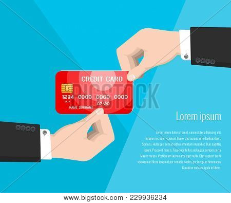 Red Credit Card In The Hand Of A Bank Employee On A Blue Background, Receiving A Credit Card At The