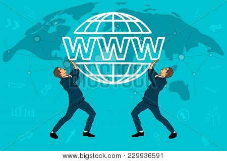 Two Businessmen Hold A Website Icon. World Map. Concept Of The Cloud