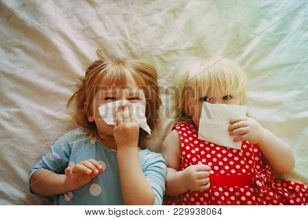 Kids Wiping And Blowing Nose, Allergy Or Infection, Healthcare