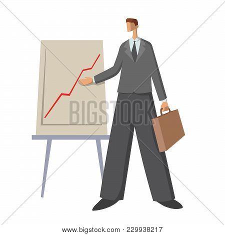 Businessman Showing An Upward Chart. Young Man At The Presentation. Vector Flat Illustration, Isolat