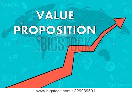 Value Proposition Banner. Arrow Up. Cloud Concept. World Map