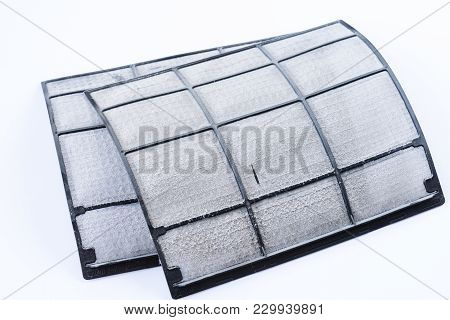 Soft Focus Of Dust On Air Conditioner Filter, Very Dirty.