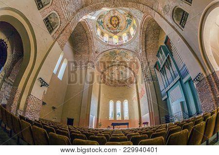 Pitsunda, Abkhazia - October 21, 2014: Interior Of Church With The Fresco Of Jesus.