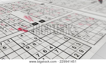 Sudoku Frame With Puzzling Grids Of Numbers