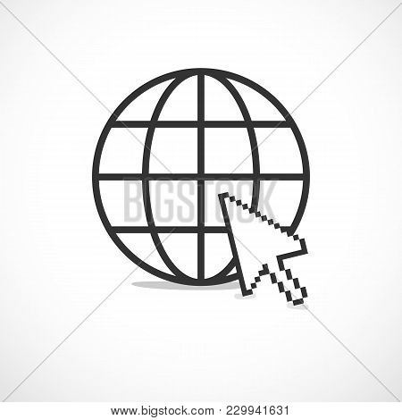 Circular Planet Internet Icon With White Pixelated Cursor