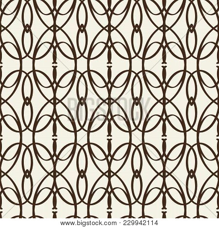 Monochrome Seamless Pattern Similar To Decorative Trellis With Intricate Line Tracery Weaves Flat Ve