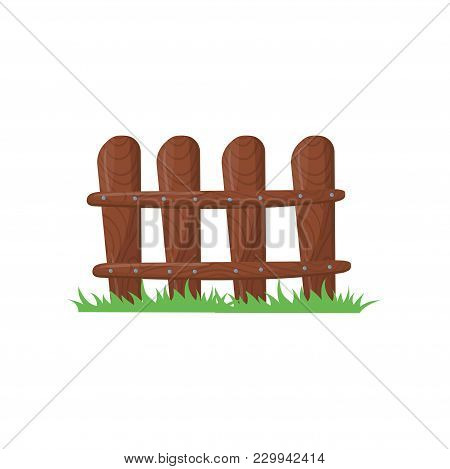 Little Farm Fence Made Of Brown Planks. Bright Green Grass. Wooden Fencing Knocked With Nails. Carto